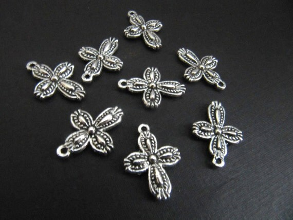 Custom listing ONLY for Nadia - Silver Pewter Small Cross Charms - 40 pieces