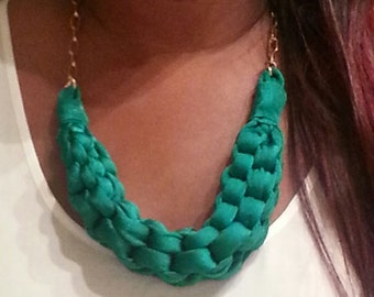 Go Green Knot Fabric Braid Necklace