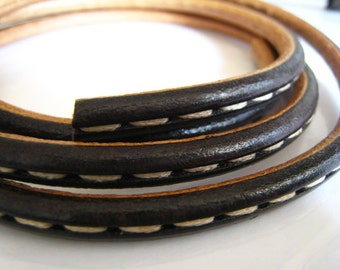 18 inches ( Half Yard ) of 6mm Black and Natural Brown Genuine Round Leather Cord