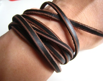 2 Yard of 5mm Vintage Brown Black Lace Strap Genuine Flat Leather Cord