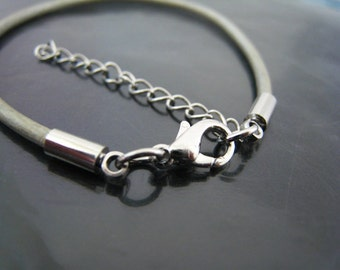 Finding - 4 Sets Silver Round Tone Leather Cord Ends Cap With Lobster Clasp Buckle and Extender ( Inside 2mm Diameter )