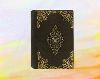 Handmade journal, metal decoration, wooden cover notebook, blank notebook, miniature size, little sketchbook