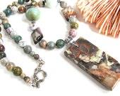 Earthy necklace, Mushroom Jasper pendant, Amazonite, Turtle Jasper, beaded necklace, Ocean Jasper, gemstones, sterling findings  192