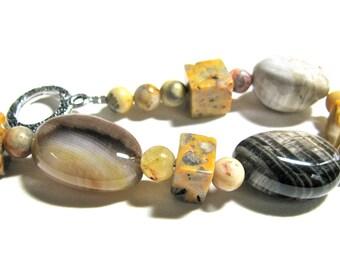 Earthy bracelet, Petrified Wood nuggets, Crazy Lace Agate, beaded bracelet, gemstones 069