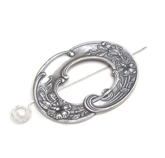 Silver Shawl Pin, Victorian Shawl Pin, silver scarf pin, hair slide, sweater pin, flower, floral, spring fashion, frame, oval
