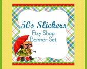Etsy Shop Banner Set w/ New Size Cover Photo 50s Rain Slickers  - Pre-made Cute Vintage Design - 6 Piece Set Cute Kids w Umbrella