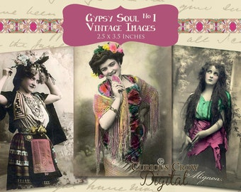 Vintage Gypsy Images Digital Collage Sheet No. 1 -  2.5 x 3.5 ACEO ATC -  INSTANT Printable Download