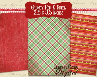 Red and Green Christmas Grunge Digital Collage Sheet - ACEO ATC 2.5 x 3.5 - INSTANT Printable Download