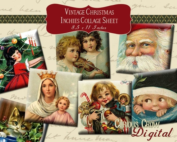 Vintage Christmas Inchies Digital Collage Sheet 1 x 1  Squares INSTANT Printable Download Jewelry Pendant