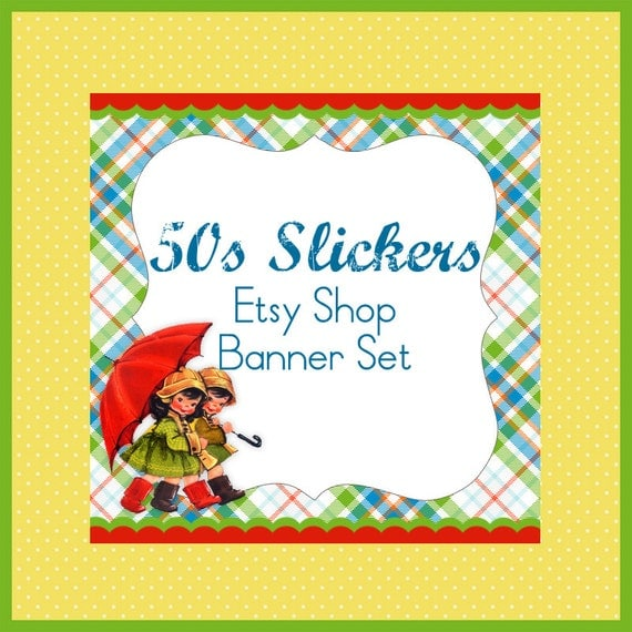 Etsy Shop Banner Set w/ New Size Cover Photo 50s Rain Slickers  - Pre-made Cute Vintage Design - 6 Piece Set Cute Kids w Umbrella