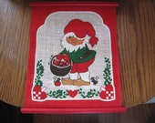 Adorable Swedish Tomte Fabric Wall Hanging 9 inches x 12 inches excellent condition Scandinavian