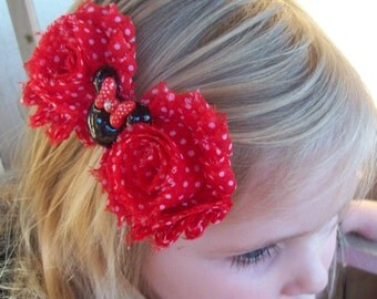 Handmade Red, White  Shabby Mouse Head Boutique Hair Bow - Fits All Ages