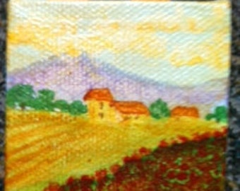 """Miniature canvas painting 2"""" x 2"""" with 5"""" easel, Mini painting, Acrylic painting, Doll house accessory, Italian Landscape painting, Italy"""