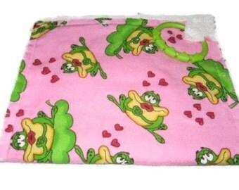 Kissing Frog Love Burp Pad Feeding Cloth Fringe Burp Rag