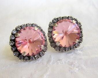 Pink earrings,pink studs earrings,Swarovski crystal earrings,pink bridesmaids earrings, Oxidized silver earrings, pink bridal earrings