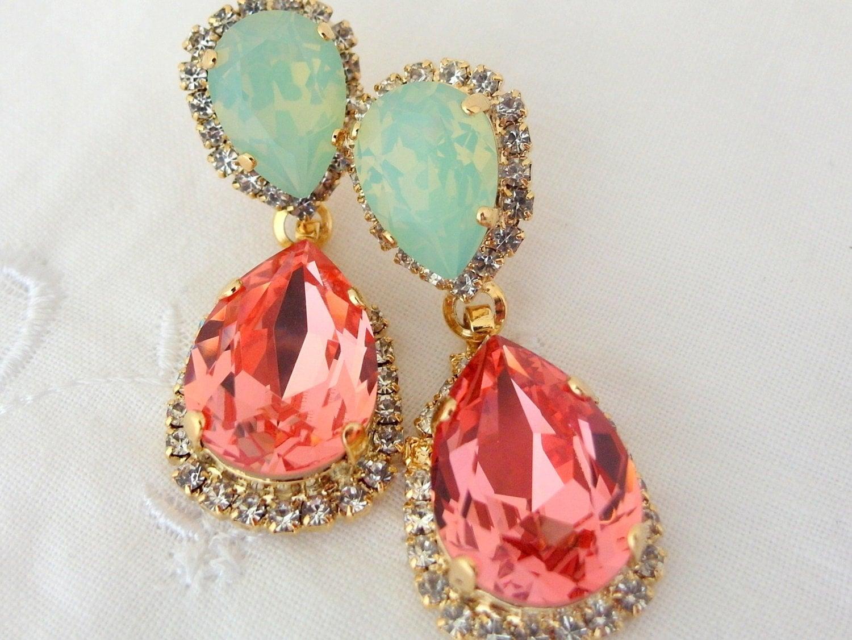 Peach Coral Mint Chandelier Earrings Bridal Earrings Drop
