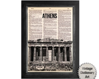 Athens Greece Acropolis Art Print on Recycled Vintage Dictionary Paper - 8x10.5 Dictionary Art