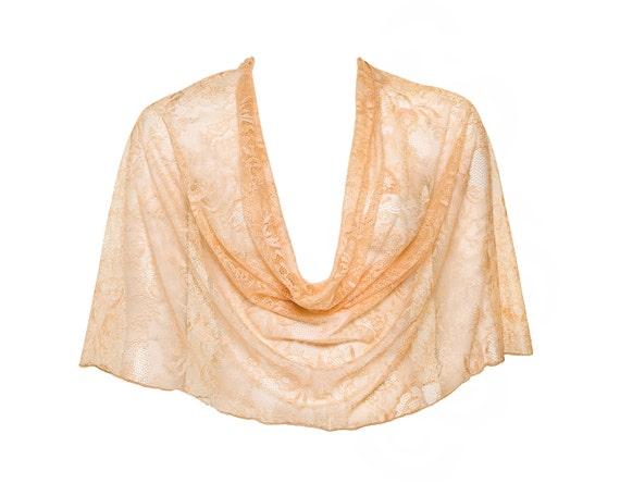 Orange lace shawl (4-options shawl) apricot lace shrug