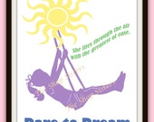 Daring Dream Girl Inspirational Silhouette Sun 8 x 10  Wall art FREE SHIPPING