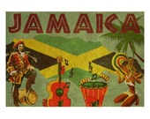 JAMAICA 2F- Handmade Leather Wall Hanging - Travel Art