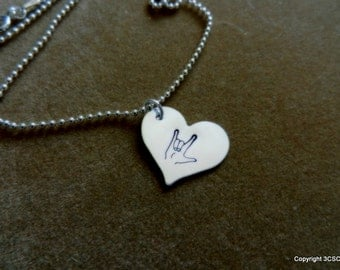 ASL I Love You symbol hand stamped on a Large Heart Necklace