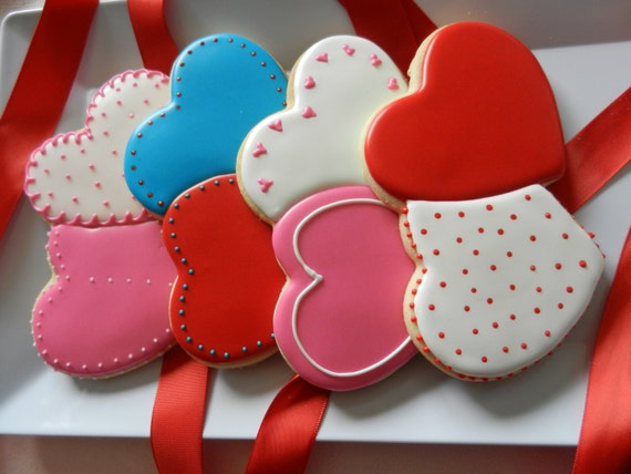 Items Similar To Large Double Heart Cookies  One Dozen