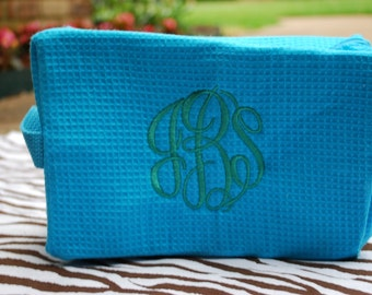 Monogrammed / Personalized Make-Up Bag - Waffle Weave Make up Bag - Ladies Gift - Bridesmaid Gift - Embroidery Make up bag - Graduation Gift