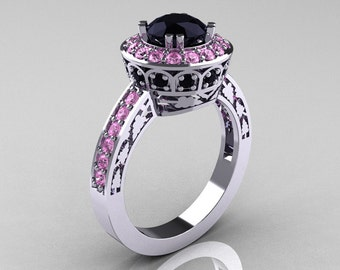 Classic 14K White Gold 1.0 Carat Black Diamond Light Pink Sapphire Wedding Ring, Engagement Ring R199-14KWGLPSBD