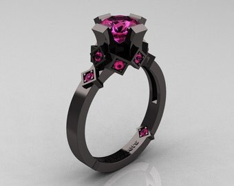 Modern Bridal 14K Black Gold 1.0 Pink Sapphire Solitaire Ring R240-14KBGPS