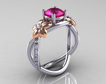 Nature Classic 18K Two-Tone Gold 1.0 CT Pink Sapphire Diamond Leaf and Vine Engagement Ring R180-18KTTWRGDPS