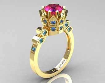 Classic Armenian 14K Yellow Gold 1.0 Pink Sapphire Blue Topaz Bridal Solitaire Ring R405-14KYGBTPS