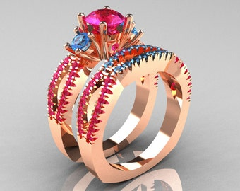 Modern French 14K Rose Gold Three Stone Pink Sapphire Blue Topaz Engagement Ring Wedding Band Set R140S-14RGBTPS