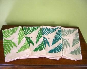 Fern Screen Print on Organic Cotton Flour Sack Towel