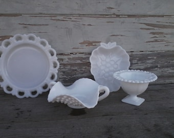 Vintage Milk Glass Bowl + Vase Set - Antique Milk Glass Dishes, Nut Bowls or Party Snack Serving Ware, Wedding China, All White Decor