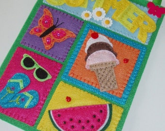 Summer Days Embroidered Felt Wall Hanging
