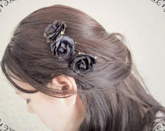 Black Roses Hair Pins. Paper Flowers. Woodland. Floral Hair Pins. Whimsical. Rustic, Fall. Autumn Weddings, Halloween hair accessories,