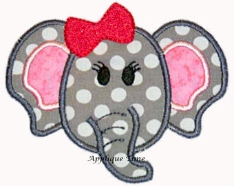 Instant Download Girl Elephant Machine Embroidery Applique Design 4x4, 5x7 and 6x10