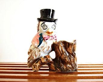Vintage Ceramic Owl Pencil Holder, Planter, Vase