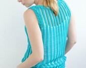 Turquoise summer woman tank top aqua neon