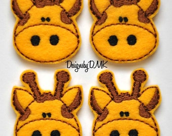 Giraffe Felt Embroidered Embellishment Clippie Cover SET of 4 - Multiple Sets Available