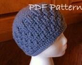 INSTANT DOWNLOAD Crochet 2Row Basket Weave Beanie - PDF 006