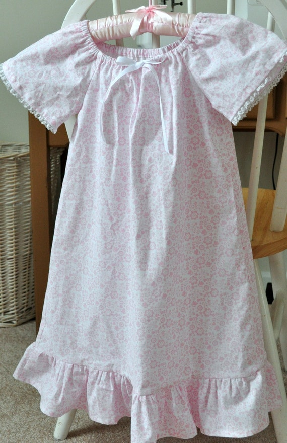 Little Girl 39 S Cotton Peasant Nightgown Sz 5 6 By Roseandruffle