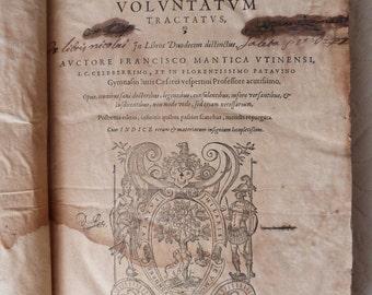 Antique French Latin leather book dated 1590 Lyon, Mantica Francisco tractatus de Conject, RARE book, collectible, paper ephemera gift