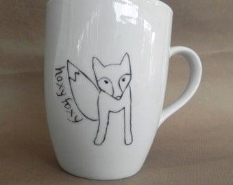 Fox, custom hand painted white porcelain mug with handle