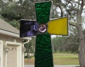 Mardi Gras Style - Victorian Style Cross with Grape Waterglass, Green Granite Glass and Yellow Opal with Grape Crystal Gem
