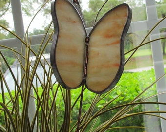"Stained Glass Glass ""JUMBO"" Butterfly Garden Plant Stake Mixed Opal Pinks/Orange/Ivory/Amber - Butterfly 4.5"" x 3.5"""