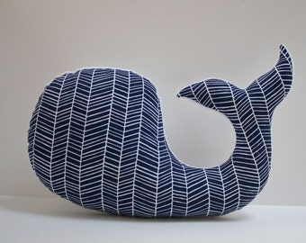 Navy chevron nautical WHALE pillow - blue baby nursery - modern decor plushie - shower gift