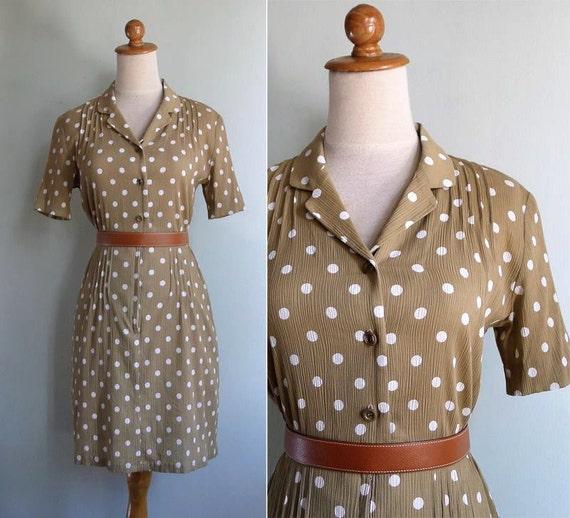 Vintage 80's Khaki Polka Dot Dress XS or S