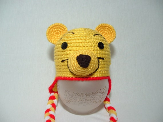 Winnie The Pooh Bear hat .Any size,any color.