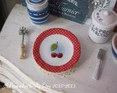 Cherry Polka Plate for Dollhouse